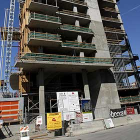 Multi-Story concrete building under construction using Pecora weatherproofing sealants