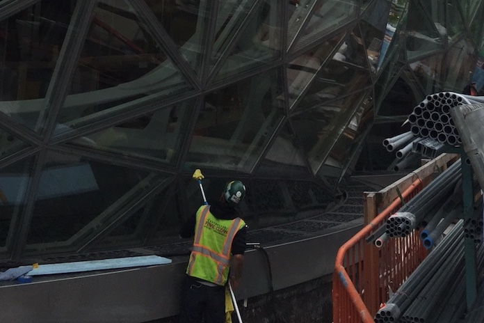 Final cleaning of the Amazon Spheres – The Spheres In Downtown Seattle, Washington