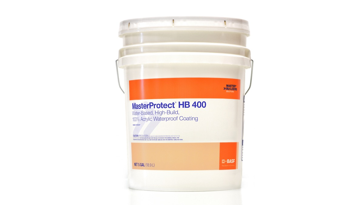 MasterProtect HB 400 water-based, high-build, waterproof coating in a 5 gallon pail