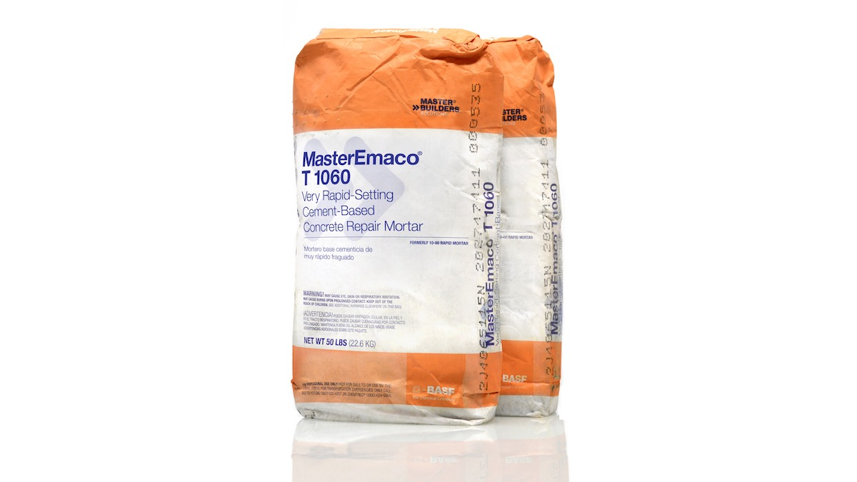 BASF MasterEmaco T 1060 Cement-Based, Concrete Repair Mortar packaged in a 50 pound bag