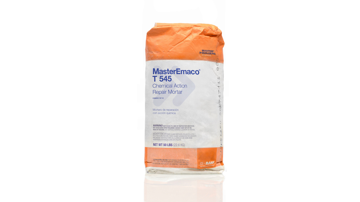 BASF MasterEmaco T 545 Chemical Action Repair Mortar packaged in a 50 pound bag