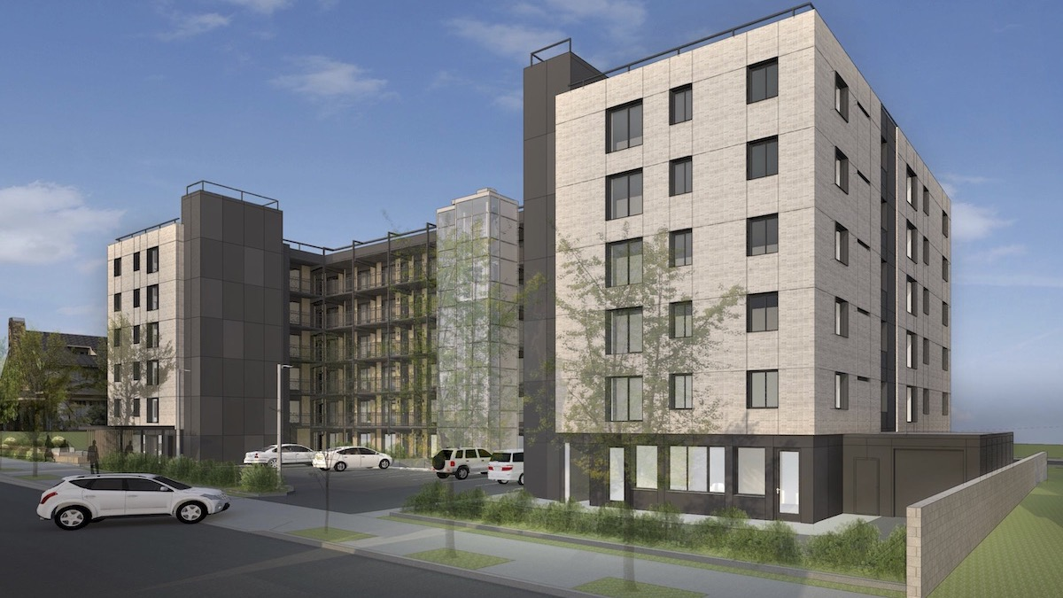 Architect's Rendering of Renovated Medallion Apartments, Southeast View